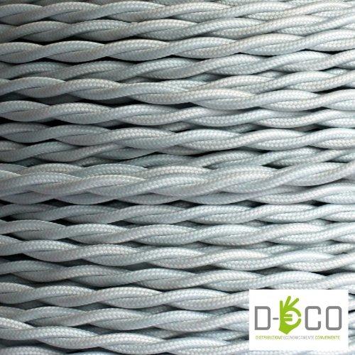 Textilkabel für Lampe, Stoffkabel 2-adrig (2x0,75mm²) - Weiß. Made in Italy (10 Meter)