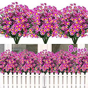 8 Bundles Artificial Flowers UV Resistant Outdoor Decoration-Faux Plastic Daisy Greenery Shrub Plant Indoor Outside Hanging Planter Wedding Home Garden Office Window Box Hanging Décor(Red Lotus)