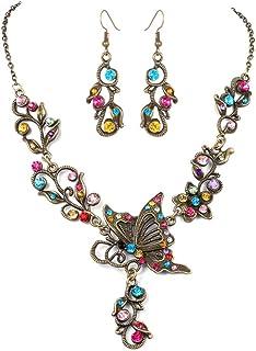 Gioielli farfalla amore fiore orecchini collana gioielli set, 1