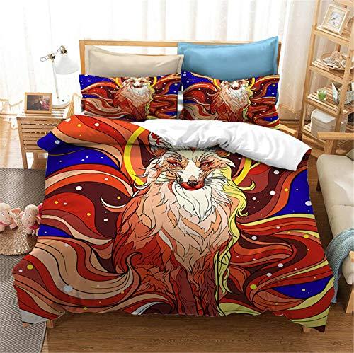 SMNVCKJ Juego de ropa de cama con diseño de anime, estampado 3D, con fundas de edredón para niños y niñas (2,Super King 220 x 260 cm)