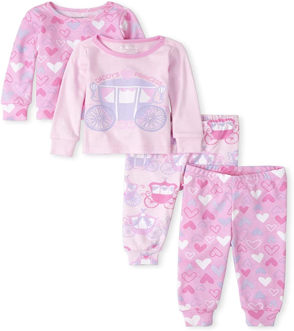 The Children's Place Girls' Baby and Toddler Princess Heart Snug Fit Cotton 4-Piece Pajamas