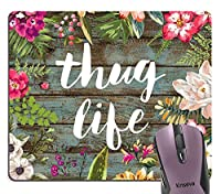 刺客ライフおかしい引用マウスパッドおしゃれスリップ防止、ヴィンテージの花色とりどりの花の花輪素朴な古い木製アート心に強く訴えるマウスパッドおしゃれスリップ防止