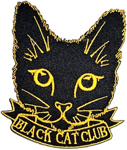 Black CAT Club Cartoon Patch Yellow Black Cat Kitten Sew on Iron on Patches Embroidered Applique product image