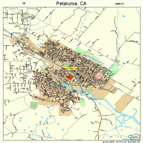 Large Street & Road Map of Petaluma, California CA - Printed Poster Size Wall Atlas of Your Home Town