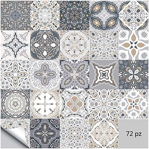 Adesivi per piastrelle da parete autoadesivi 72 pezzi Adesivi stile marocchino impermeabili per arredamento bagno cucina fai da te (72 pezzi, 20×20cm)