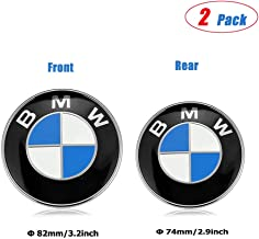 ESKey BMW Emblems Hood and Trunk,82mm+74mm BMW Blue White Emblem Replacement Suitable for ALL Models BMW E30 E36 E46 E34 E39 E60 E65 E38 X3 X5 X6 3 4 5 6 7 8