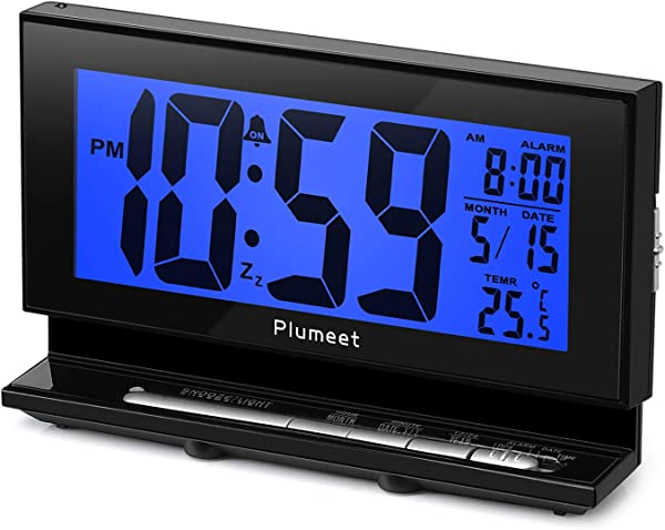 Plumeet Auto Night Light Clock Digital Alarm Clock Large LCD Display With Low High Dimmer Backlight Temperature Calendar Ascending Sound Snooze Function Battery Operated Only Blue