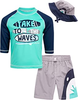 Wippette Boys Swimwear - Rash Guard UPF 50+ and Swimsuit Trunk 2-Piece Set (Sharks/Crabs/Dinosaurs) (Infant/Toddlers)