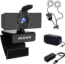 1080P Webcam Kits, NexiGo FHD USB Web Camera with Privacy Cover, 3.5 Inch Dual Selfie Ring Light, USB Computer Speaker, 4-...