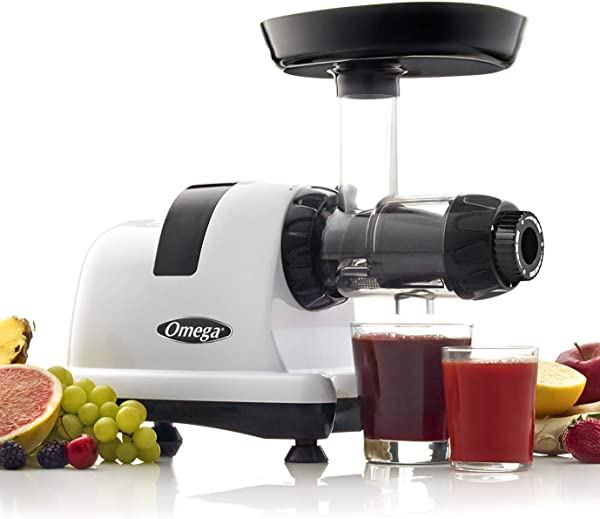 Omega J8006HDS Nutrition Center Quiet Dual Stage Slow Speed Masticating Juicer Makes Fruit And Vegetable Juice At 80 Revolutions Per Minute High Juice Yield Adjustable Dial 200 Watt Silver