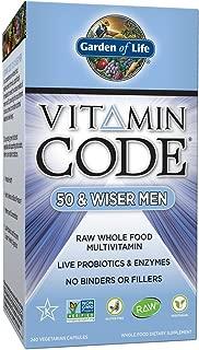 Garden of Life Multivitamin for Men - Vitamin Code 50 & Wiser Men's Raw Whole Food Vitamin Supplement with Probiotics, Vegetarian, 240 Capsules