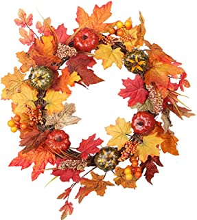 Thanksgiving Autumn Color Wreath Pumpkin Valley Spike Maple Leaf Wicks Christmas Wreath For Outdoor Front Door Wall Window Party Festival Celebration