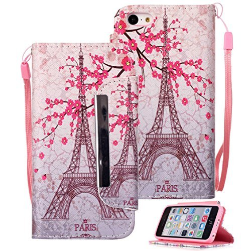 iPhone 5C Case, iPhone 5C Wallet Case, Etubby [Wallet Stand] New PU Leather Wallet Flip Protective Case with Card Slots and Wrist Strap for Apple iPhone 5C (2013) - Paris-F
