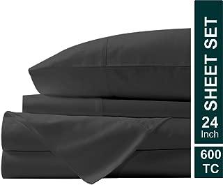 Meraki Linen Presents 4 PC 100% Egyptian Cotton 600 TC Premium Sheet Set, Luxurious Feel Italian Finish Long Staple Comfortable bedsheet Set Comes with 24