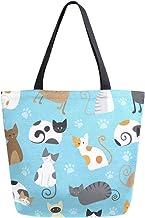 ZZKKO Tier-Katzen-Tragetasche, Segeltuch, Schultertasche, Freizeittasche, für Frauen, Lehrer, Kätzchen, Baumwolle, Einkaufstasche, Handtasche, wiederverwendbar, Mehrzweck-Verwendung