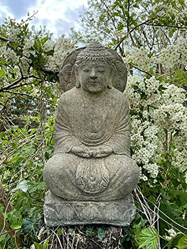 SpiceRack Estatua de Piedra de Buda de la sabiduría Oriental  Adorno de jardín tailandés de Monje inglés al Aire Libre