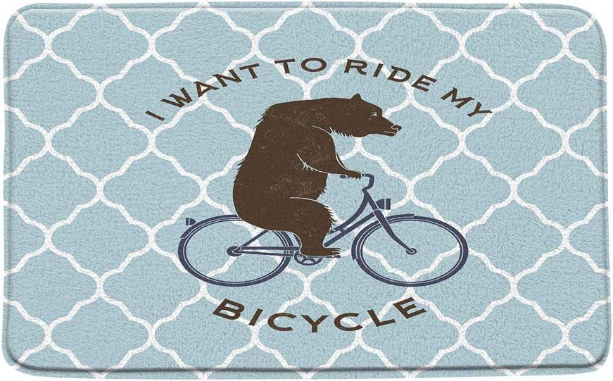 Bear Bicycle Plaid Bath Mat Funny Bear Ride Bike Quote Blue Rhom