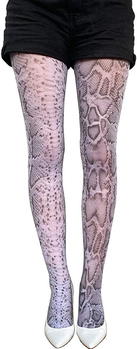 Snake skin patterned tights black and white for women