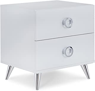 ACME Furniture Nightstand, One Size, White & Chrome