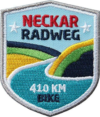 2 x Neckar-Radweg Abzeichen gestickt 51x 60 mm / Aufnäher Aufbügler Sticker Wappen Patch / Radtour Neckartal Odenwald Heidelberg Stuttgart Fluss / Fahrrad-Tourenführer Radtouren-Karte Buch Reiseführer