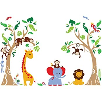 decalmile Tree and Jungle Animal Wall Decals Monkey Giraffe Elephant Wall Stickers Home Decoration Baby Nursery Kids Room Wall Decor