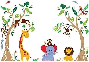 decalmile Tree and Jungle Animal Wall Decals Monkey Giraffe Elephant Wall Stickers Home Decoration Baby Nursery Kids Room ...