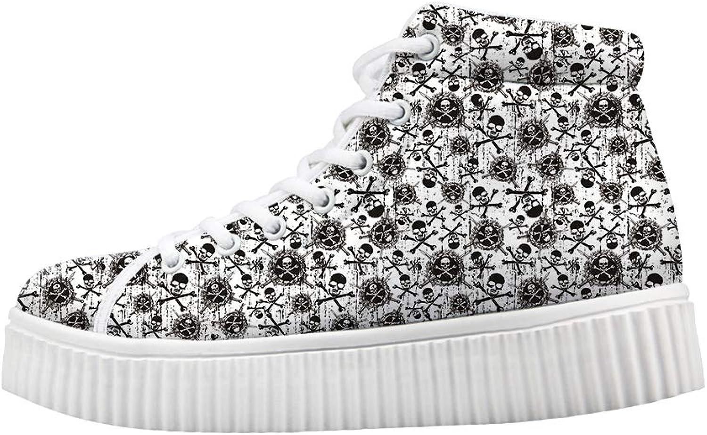 Owaheson Platform Lace up Sneaker Casual Chunky Walking shoes Women Cross Bones Sword of Death Pirate Skulls