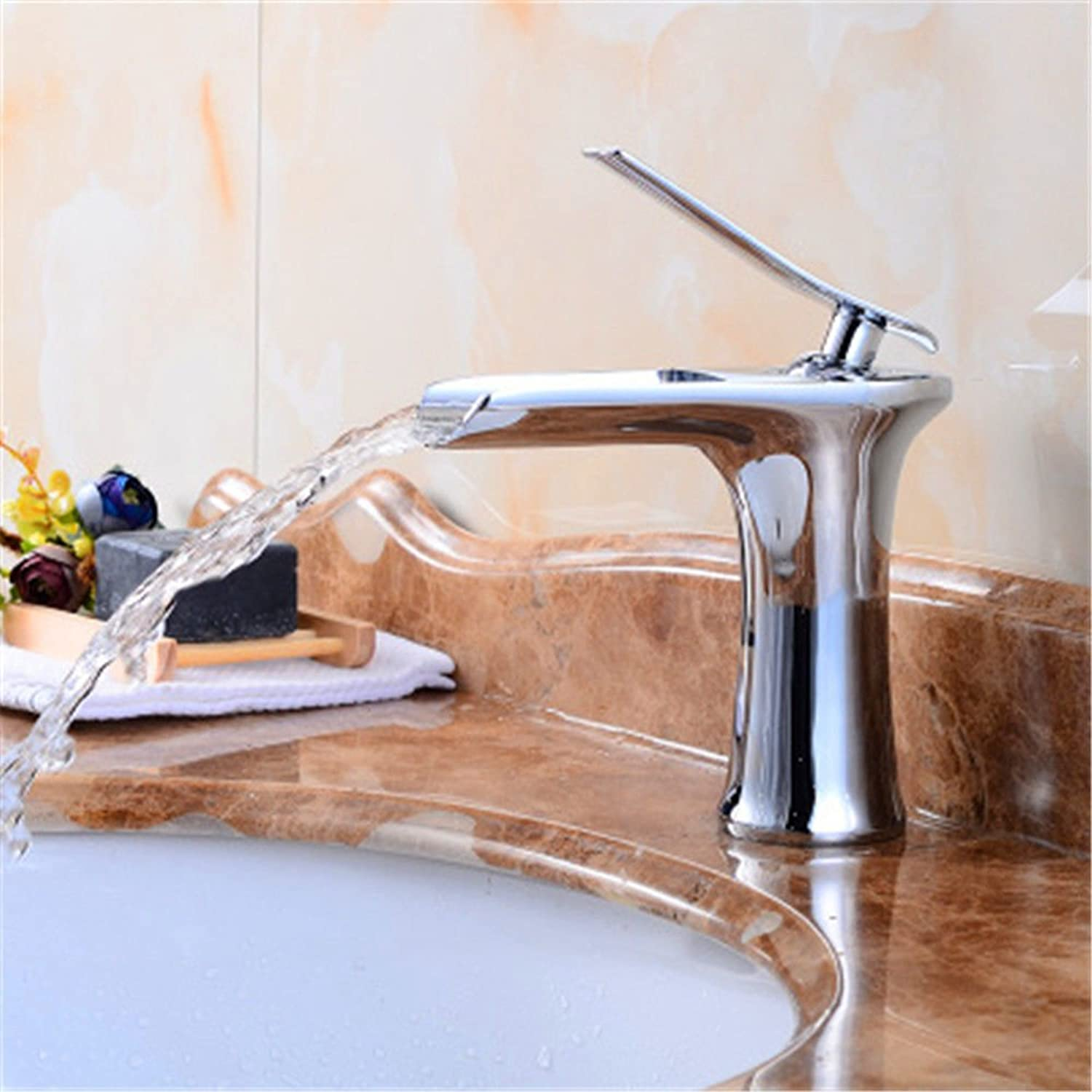 Gyps Faucet Single-Lever Washbasin Mixer Tap Antique Brass Waterfall Tap Basin Surface Basin Art Basin Plus High Tap Black F