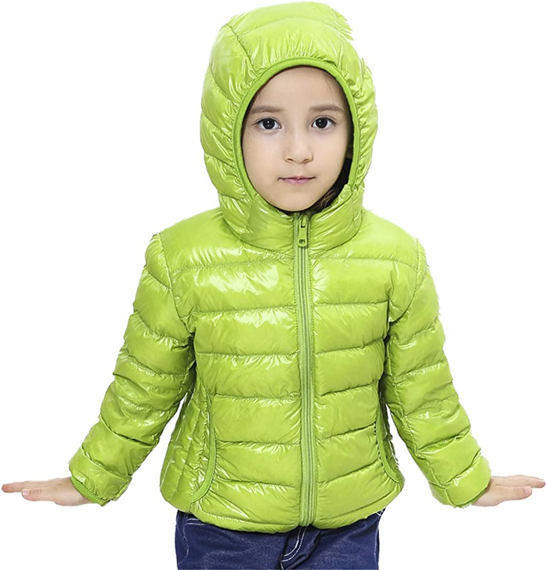 QingCheng Boys Girls Down Puffer Jacket Ultra Lightweight Hooded Packable Outerwear Coat for Kids
