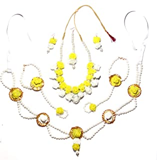 QUVYARTS Yellow Flower Non-Precious Metal, Mother-of-Pearl Jewellery Set with Earrings, Bracelets, Maang Tika and Waistban...