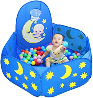 LXDDP Playpen Toddlers with Basketball Hoop  Hexagonal Safety Blue Baby Playpen  Indoor Outdoor Anti-rollover Room Divider  47 29inch