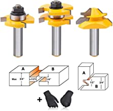 AxPower Tongue and Groove Router Bit Tool Set 1/2 Inch Shank with 45°Lock Miter Bit 1/2 Inch Shank T Shape Milling Cutter for Doors Tables Shelves DIY Woodworking and More