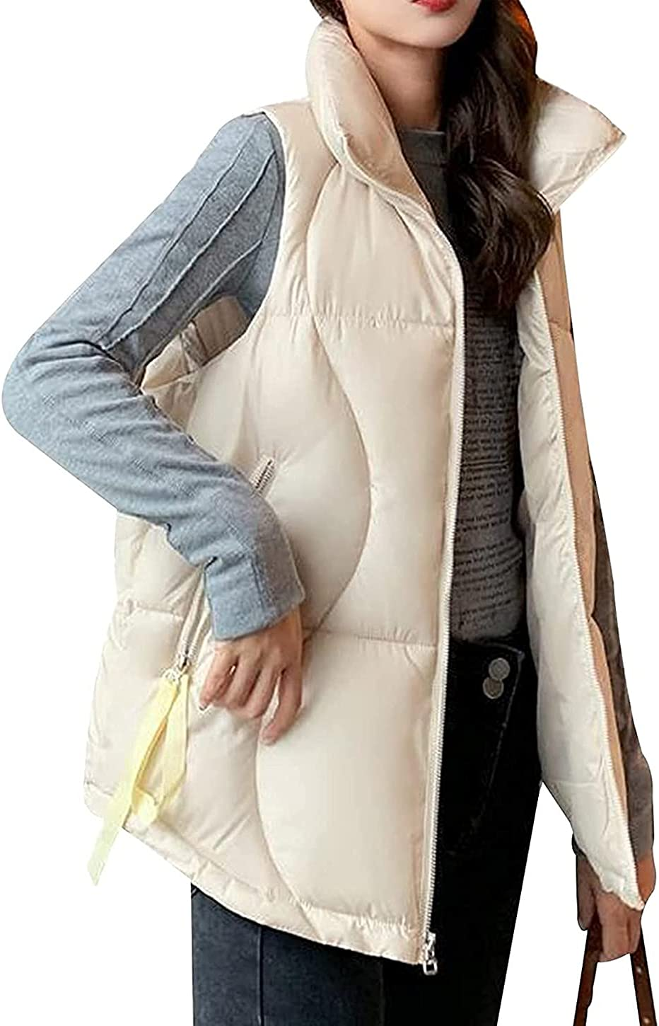 Sleeveless Winter Warm Quilted Down Vest for Women Stand Collar Thickened Zipper Jacket Coat