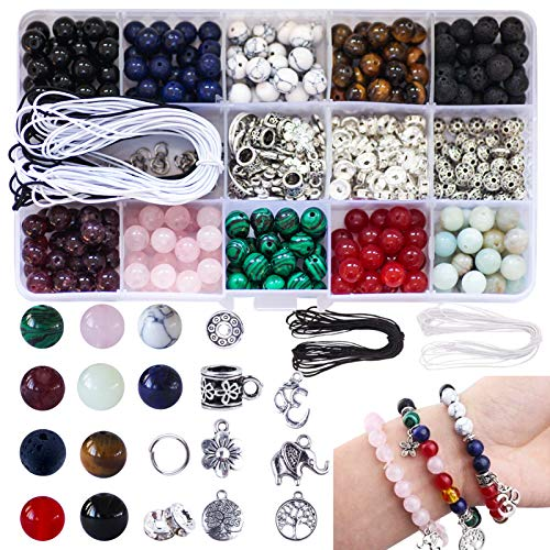Colle 418pcs 8mm Chakra Beads Lava Stone Beads Loose Beads Natural Gemstone Beads Assortment for Bracelet Necklaces Jewellery Making Kits with Tool Box & 2 Strings