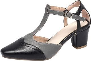 DecoStain Women's Plus Szie Contrast Color T-Strap Pumps Block Heel Square Toe Pumps Shoes