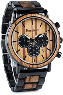 [Burnham Wood Watch] Luxury Men's Wooden Watch with Chronograph & Stainless Steel Watch Case