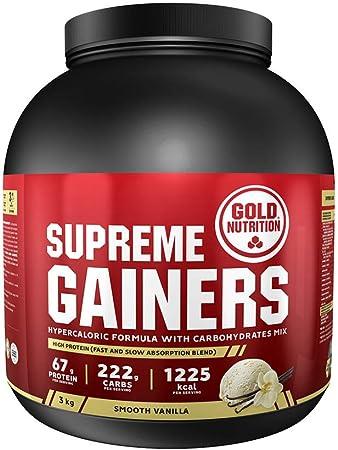 Goldnutrition Supreme Gainers 3kg, Fresa, Aumento de Peso