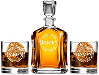 Groomsmen Gift Set Personalized Decanter with Scotch Whiskey Glasses Perfect for Wedding Favors