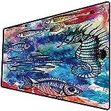 Tappetino per mouse da gioco [600x300 x 3 mm],Pesce cavalluccio marino decorazione costiera, creature marine pittura ad acquerello effetto Batik s Base antiscivolo 45x45cm