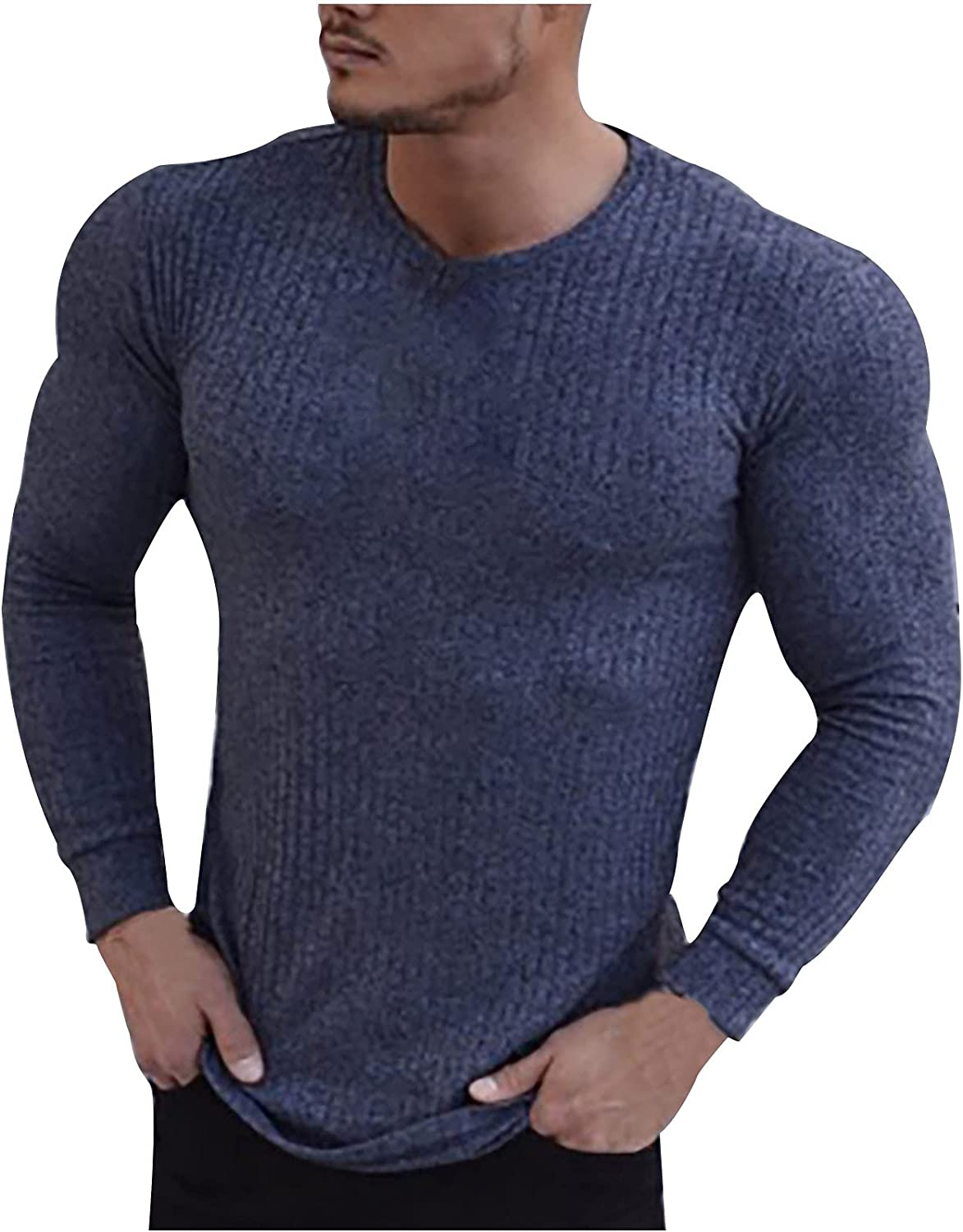 Mens Crewneck Muscle T-Shirts Long Sleeve Pullover Sporty Tops Stretch Workout Training Tee Shirts Hipster Shirt