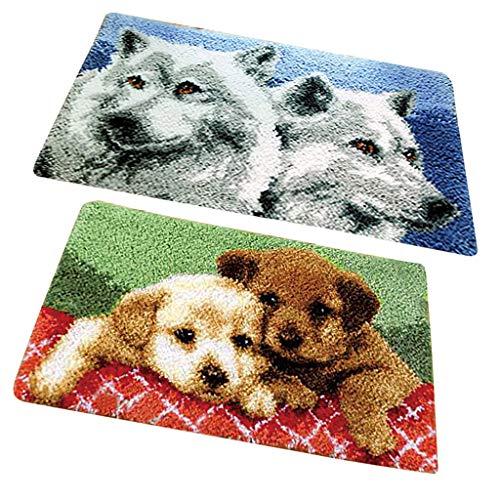 perfk 2 Set Tier-Muster Knüpfteppich DIY Handwerk Knüpfpackung zum Selber Knüpfen Teppich für Kinder, Erwachsene, 50x30cm