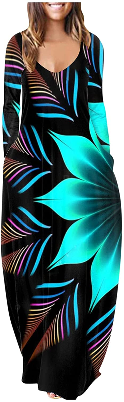 Oiumov Boho Dress for Women Casual Summer Fashion Long Sleeve Dot Print Sundress Long Maxi Cover Up Dress with Pockets