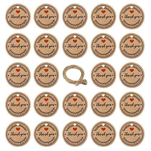 WINOMO 100 Stück Weihnachtspapier Tags Kraft Geschenkanhänger Hängen Etiketten Weihnachtsetikett Runde Danke Hängen Tags Weihnachten Partyzubehör