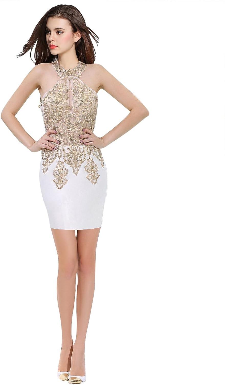 Epinkbridal Halter Neck Homecoming Party Dress Embellished Short Prom Dress for Women
