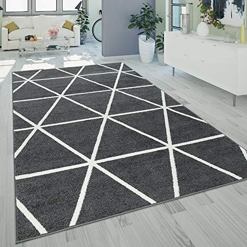 Paco Home Kurzflor Teppich Grau Weiß Wohnzimmer Rauten Muster Skandi Design Weich Robust, Grösse:120x170 cm