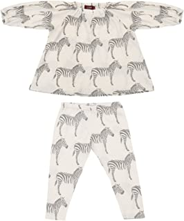 Infant and Toddler Organic Cotton Dress and Legging Set - Grey Zebra