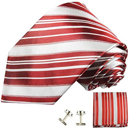 Cravate rouge blanc rayée ensemble de cravate 3 Pièces ( 100% Soie Cravate + Mouchoir + Boutons de manchette )