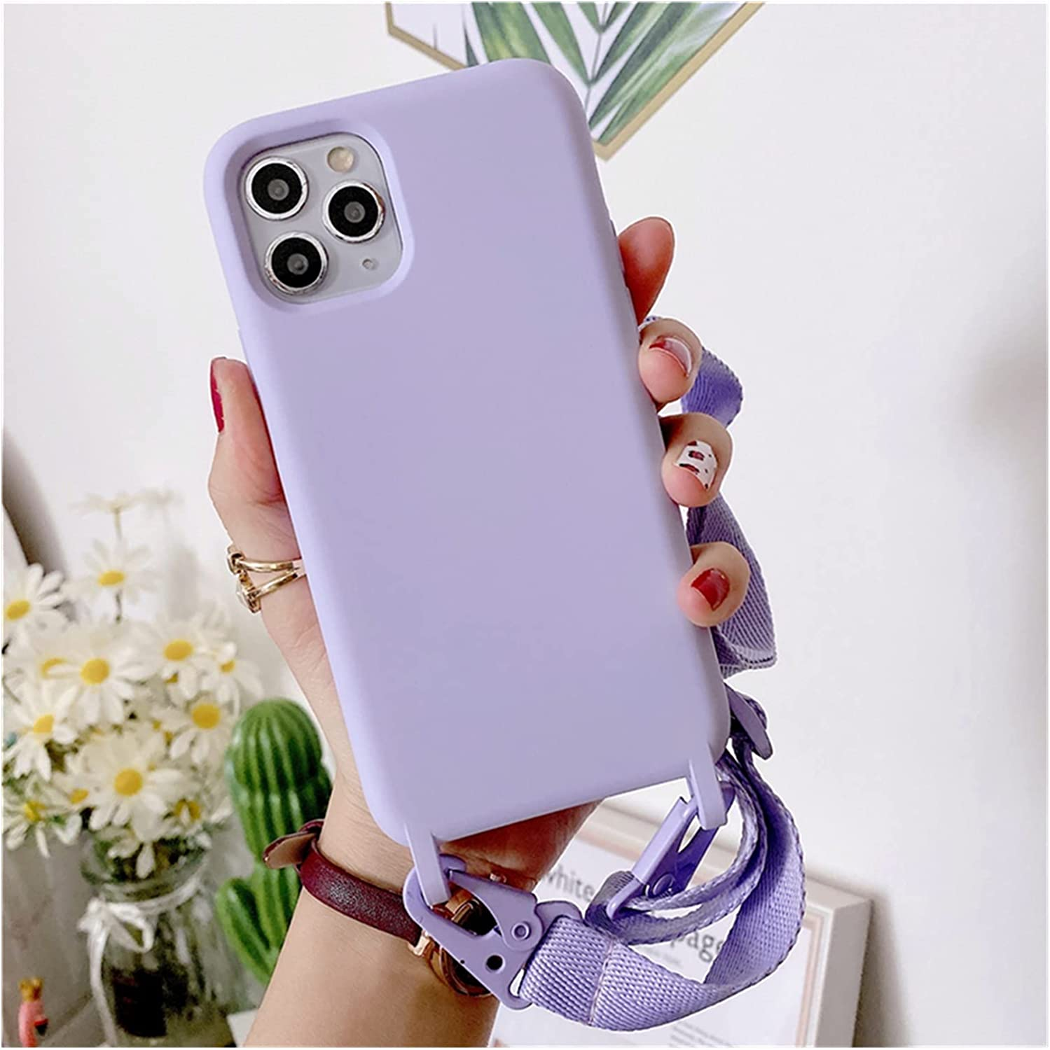 FYHCY YIZHAOYZ Crossbody Necklace Holder Phone Case for iPhone 11 Pro XS 12 Max XR X 6 6S 8 7 Plus SE 2 Lanyard Cord Strap Silicone Back Cover (Color : Purple, Size : for iPhone Xs)