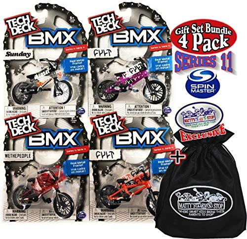 Tech Deck BMX Series 11 Complete Gift Set Bundle with Bonus Matty's Toy Stop Storage Bag - 4 Pack - WeThePeople (Red), Sunday (Grey), Cult (Orange), Cult (Purple)