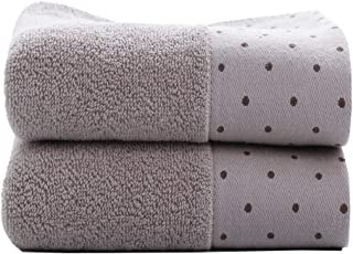 Tinymumu Hand Towel Set, 2-Pack, Polka Dot Pattern Cotton Soft Absorbent Towels for Bathroom, 13.4 x 29.5 Inch (Brown)
